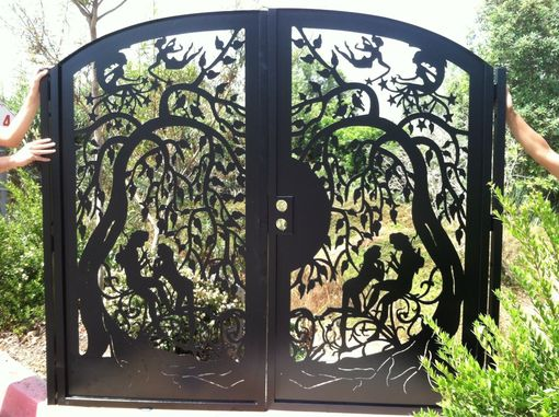 Buy A Hand Made Metal Art Gate Custom Dual Entry