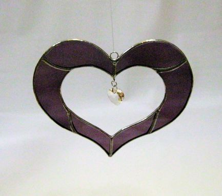 Custom Made Stained Glass Heart Sun Catcher With Swarovsky Crystal- Purple