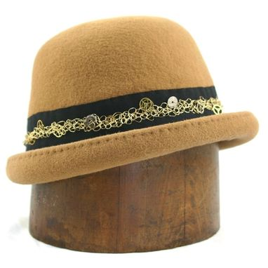 Custom Made Camel Steampunk Bowler Hat, Mrs. Tick Tock