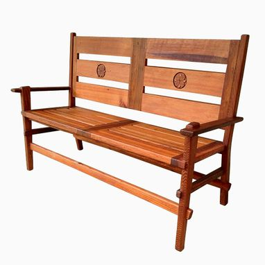 Custom Made Handcarved Floral Motif Park & Garden Bench