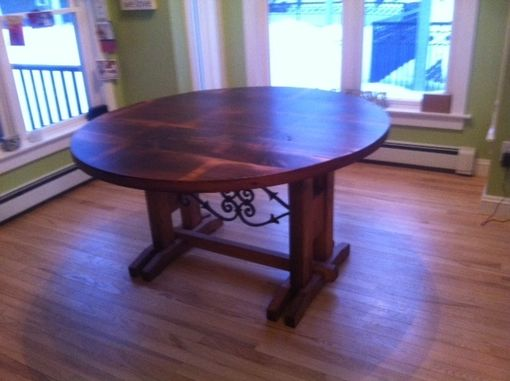 "Custom Made 64"" Round Reclaimed Pine Dining Table"
