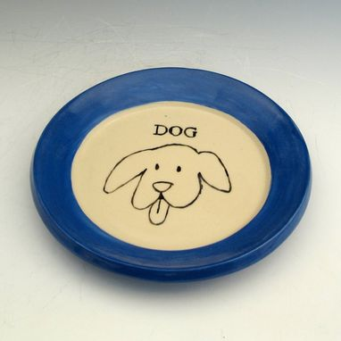 Custom Made Small Pottery Plate With Dog In Blue
