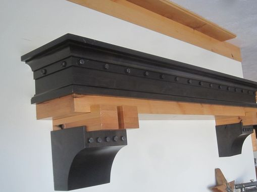Custom Made True Craftsman Styling Two Toned Fireplace Mantel With Exposed Bolts