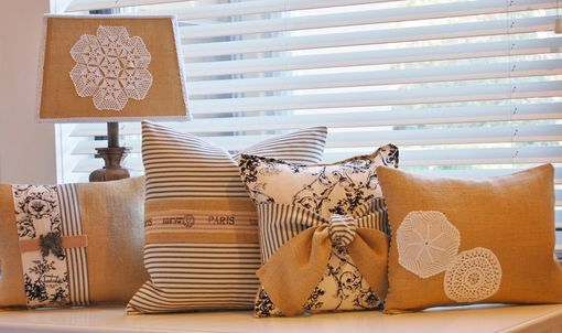 Custom Made Burlap Small Rectangular Pillow With Vintage Doily Embellishment
