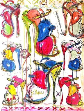 Custom Made High Heeled Art - Mark Schwartz - Paintings Of Shoes