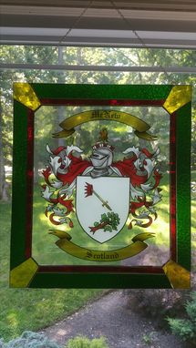 Custom Made Hand-Painted Stained Glass Family Coat Of Arms Or Crest