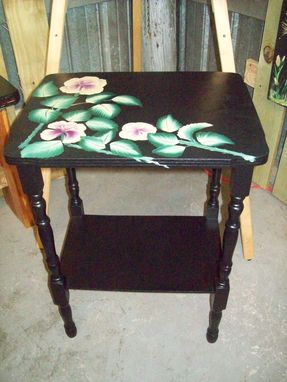Custom Made Occasional Table Hand Painted Black With Flowers