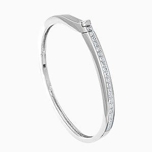 Custom Made Princess 14k Diamond Bangle