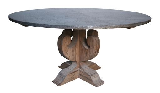Custom Made Carley Scroll Zinc Round Dining Table