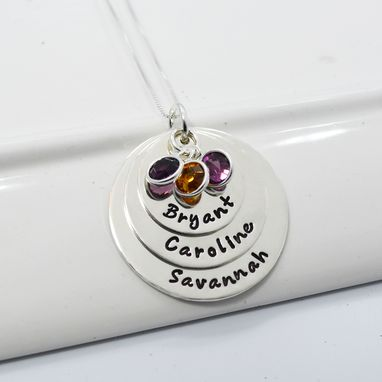 Custom Made Hand Stamped Personalized Mother Of Three Necklace
