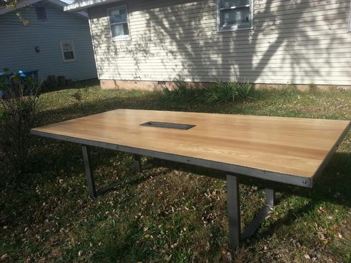Custom Made Steel And Hardwood Conference Table
