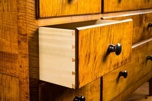Custom Made Reproduction Shaker Bureau. Dyed Curly Maple With Hand Rubbed Finish.