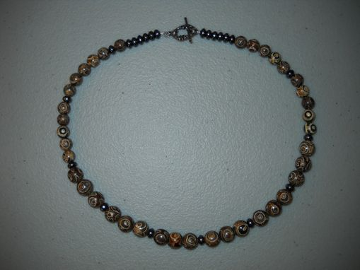 Custom Made Men's Batik Agate And Magnetite Necklace