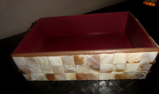 Custom Made Shell Decorated Wood Box Tray