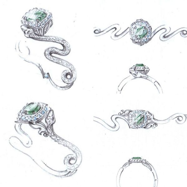 Concept sketches for a snake ring with emerald and diamond halo. Snake jewelry was popular in Victorian times, inspired by the emerald-set snake ring Prince Albert used to propose to Queen Victoria.