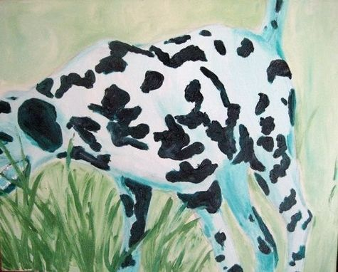 Custom Made Green Dalmatian In Motion Oil Painting