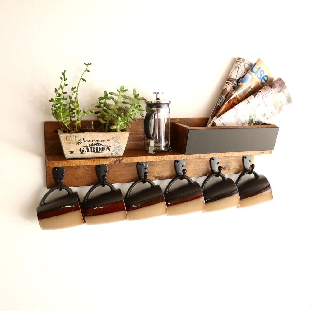 A Handmade Rustic Wall Mounted Coffee Mug Rack With