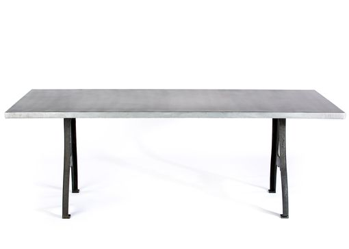 Custom Made Zinc Table  Zinc Dining Table - Williamsburg  Zinc Top Table