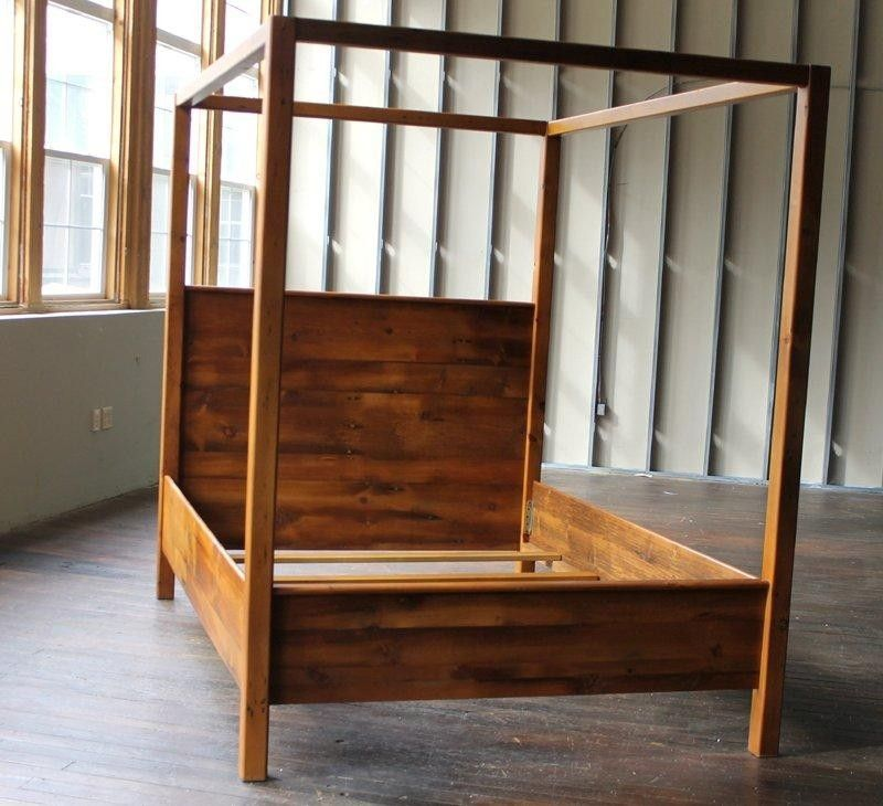 Custom Made Canopy Bed From Rustic Reclaimed Pine Finished In Brown Cherry  Finish
