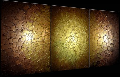 Custom Made Abstract Gold Palette Knife Painting Original Metallic Textured - 24x54 Lafferty, Sale 22% Off