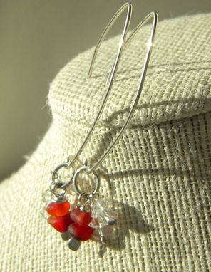 Custom Made Argentium Silver Necklace With Red Sea Glass Beads And Herkimer Diamonds