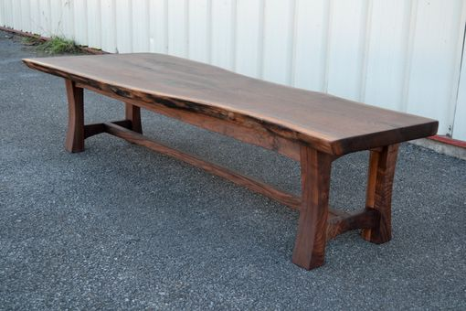 Custom Made Walnut Bench With Curvy Legged Base