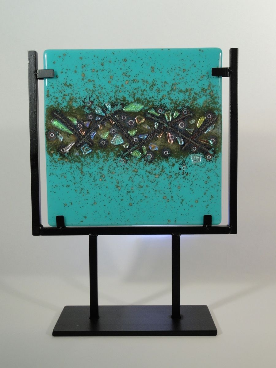 Hand Made Fused Art Glass Tile With Dichroic Inclusion By