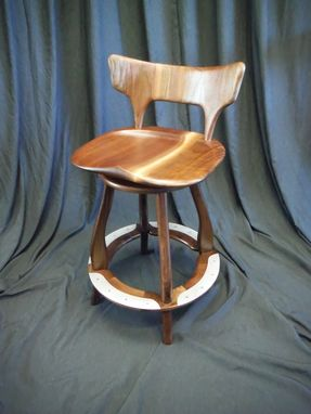 Custom Made Black Walnut Stool With Swivle And Metal Foot Rest