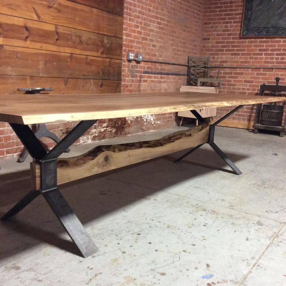 Custom Made Live Edge Farm Style Dining Table