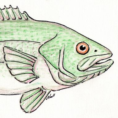 Custom Made Aceo With Original Largemouth Bass Watercolor Painting