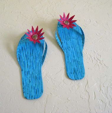 Custom Made Handmade Upcycled Metal Pair Of Flip-Flops Wall Art Sculpture In Blue