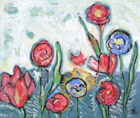 "Custom Made Acrylic Abstract Original Floral Painting ""Spring"""
