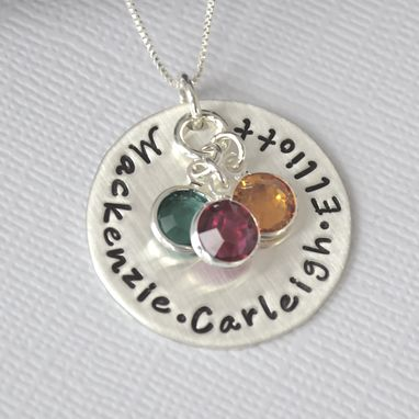 Custom Made Personalzed Hand Stamped Mother's Necklace With Birthstones
