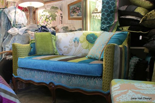 Custom Made Upholstered Vintage Settee, Cushions,