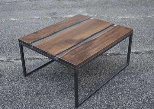 Custom Made Walnut And Frosted Resin Coffee Table