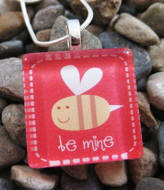 Custom Made Square Glass Tile Pendant For Valentine's