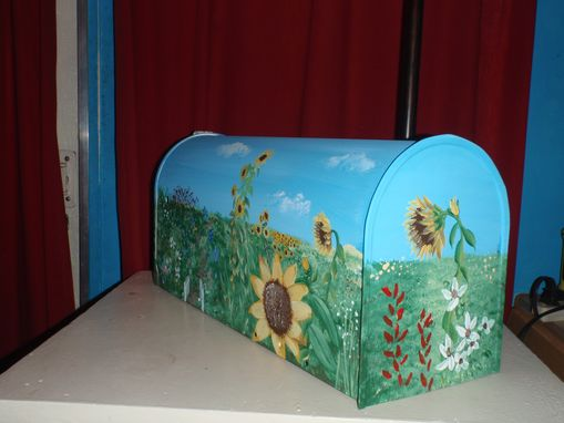 Custom Made Mailbox Hand Painted Wild Garden Featuring Sunflowers