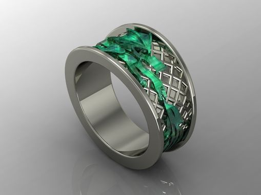 Custom Made Exotic 14kt White Gold Green Dragon Ring