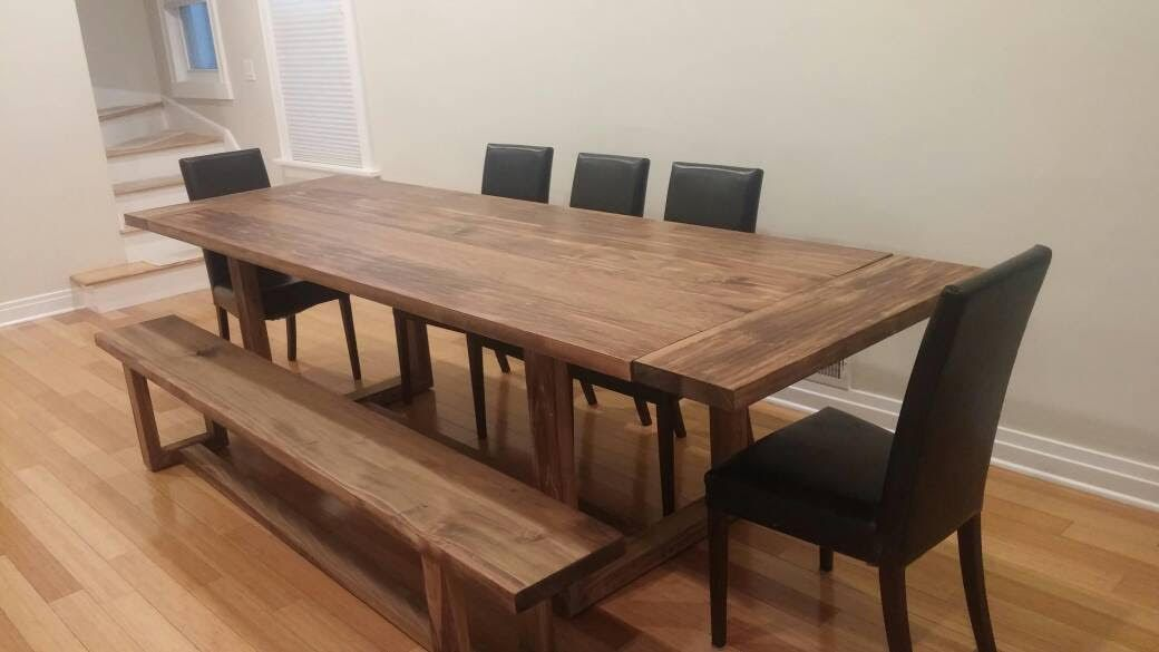 Hand Made Modern Trestle Dining Table By The Urban