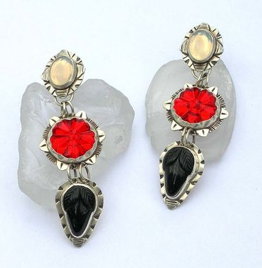 Custom Made Black White And Red Statement Earrings, Flower And Acorn Earrings, Antique Art Glass Earrings