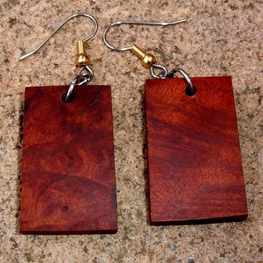 Custom Made Wood Earrings Of Redwood Burl, Very Lightweight...L026