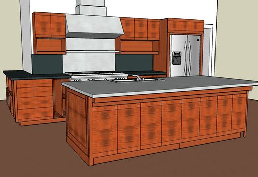 Custom Made Contemporary Kitchen In Tiger Maple