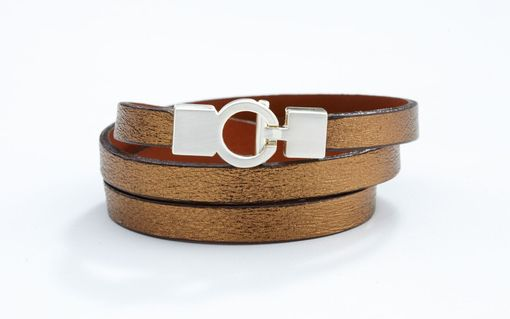 Custom Made Genuine Leather Triple-Wrap Bracelet In Brushed Gold