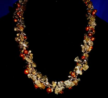 Custom Made Citrine Chip, Gold Potato Bead, Shell Bead Necklace