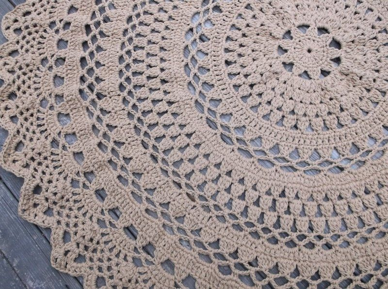 Large Round Crochet Cotton Doily Rug