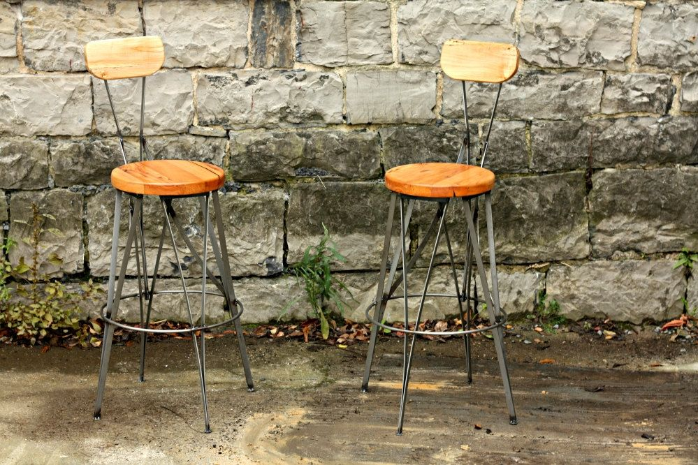 Groovy Parisian Cafe Styled Reclaimed Wood And Metal Bar Stools Lamtechconsult Wood Chair Design Ideas Lamtechconsultcom