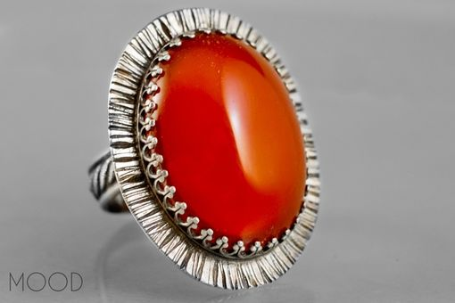 Custom Made Caribbean Sun - Ruffled Carnelian Gemstone Ring In Argenitium Sterling Silver - Made In Your Size