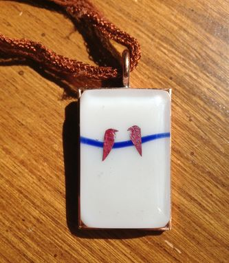 Custom Made Fused Glass Necklace With Copper Birds