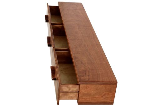 Custom Made 3 Drawer Floating Shelf | Solid Wood | Hand Carved Drawer Pulls