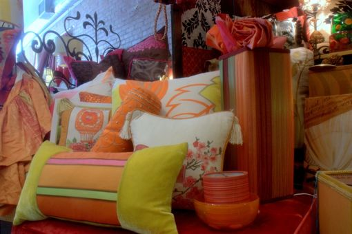 Custom Made Upholstered Chair Vintage Settee, Custom Cushions And Lampshades In Tangerine Lemon And Lime